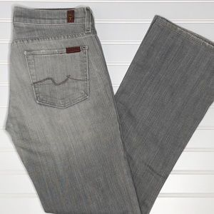 7FAM low rise bootcut gray jeans, size 26
